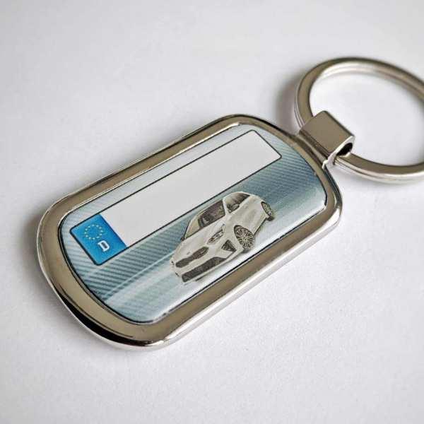 Kia Ceed GT mit Kennzeichen Schlüsselanhänger personalisiert Fotodruck mit Gravur auf der Rückseite