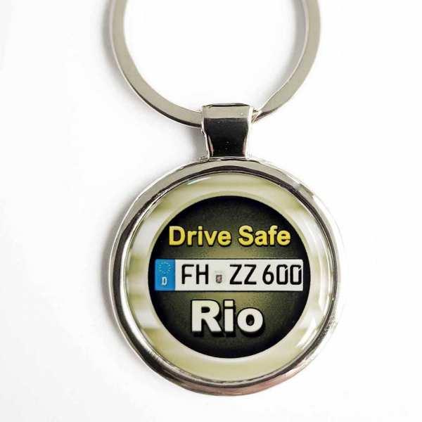 Kia RIO Drive Safe Schlüsselanhänger personalisiert & Kennzeichen & Gravur