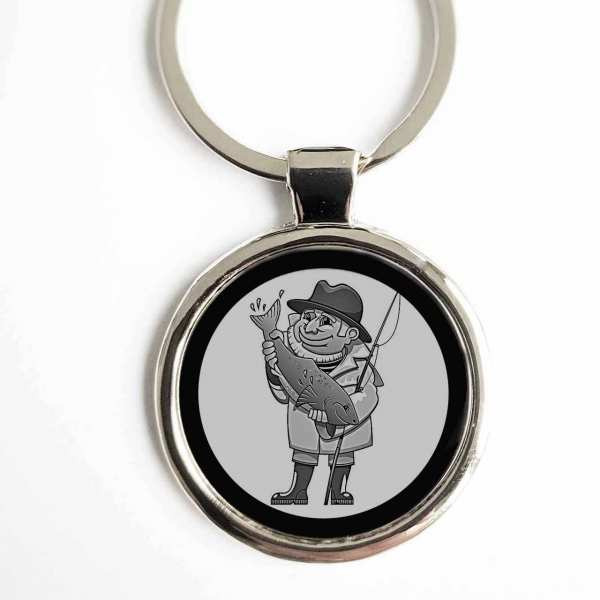 Angler Cartoon Gravur Schlüsselanhänger personalisiert