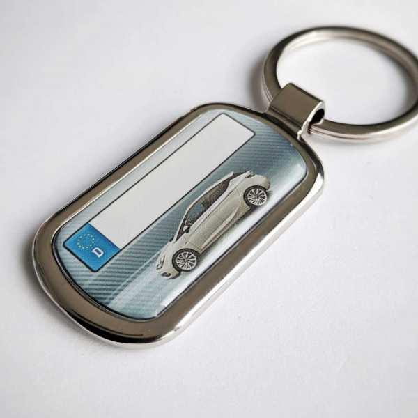 Opel Astra Kennzeichen Schlüsselanhänger Fotodruck mit Gravur auf der Rückseite