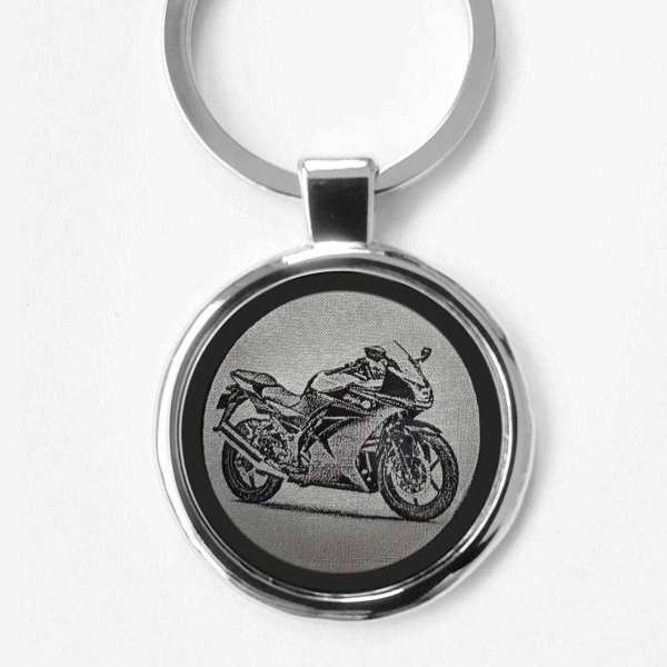 Kawasaki Ninja 250R Gravur Schlüsselanhänger personalisiert - original Fotogravur
