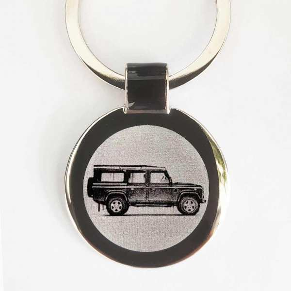 Land Rover Defender Gravur Schlüsselanhänger personalisiert - original Fotogravur