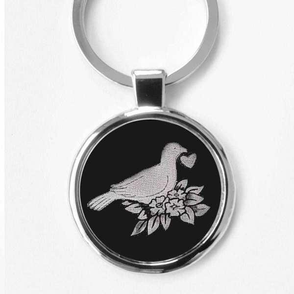 Taube ♥ Liebesgeschenk Gravur Schlüsselanhänger personalisiert - original Fotogravur
