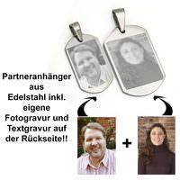 Partneranhänger Fotogravur Edelstahl Beispiel