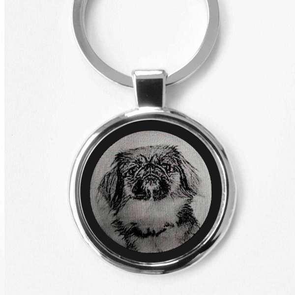 Pekinese Gravur Schlüsselanhänger personalisiert - original Fotogravur