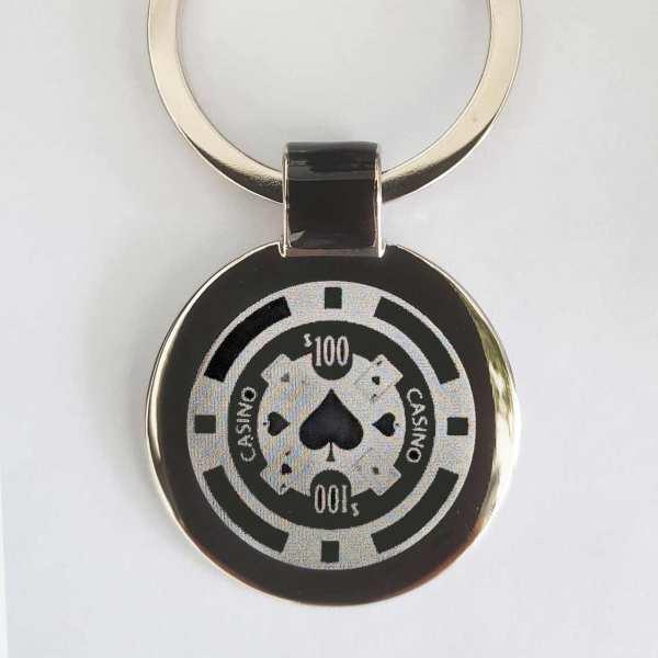 Poker Chip Schlüsselanhänger personalisiert - original Fotogravur