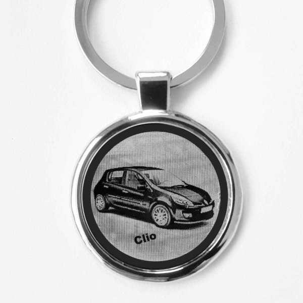 Renault Clio Schlüsselanhänger personalisiert - original Fotogravur