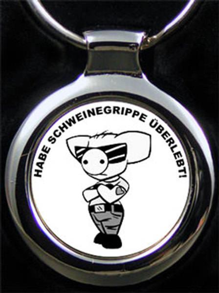 Schweinegrippe Comic Gravur Schlüsselanhänger