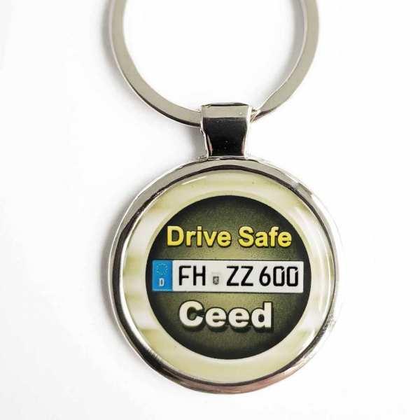 Kia Ceed Drive Safe Schlüsselanhänger personalisiert & Kennzeichen & Gravur