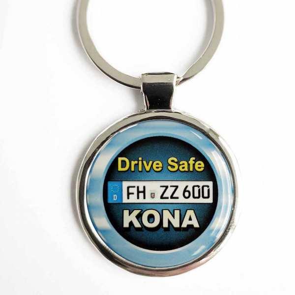Hyundai Kona Drive Safe Schlüsselanhänger personalisiert & Kennzeichen & Gravur