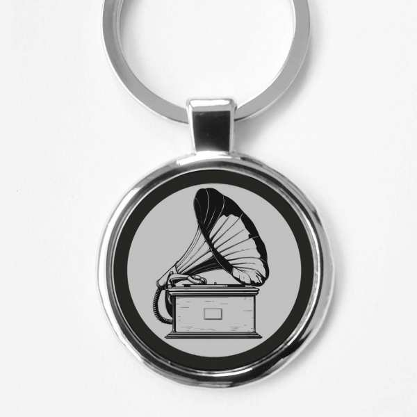 Grammophon Gravur Schlüsselanhänger personalisiert