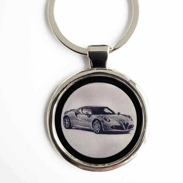 Alfa Romeo 4C Schlüsselanhänger personalisiert - original Fotogravur