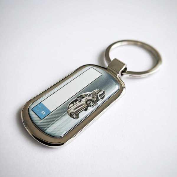 Fiat 500x mit Kennzeichen Schlüsselanhänger personalisiert Fotodruck mit Gravur auf der Rückseite