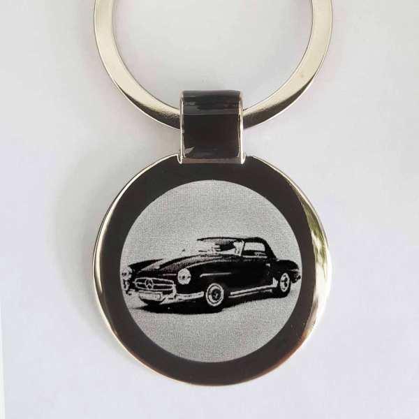 Mercedes Benz 190SL Gravur Schlüsselanhänger personalisiert - original Fotogravur