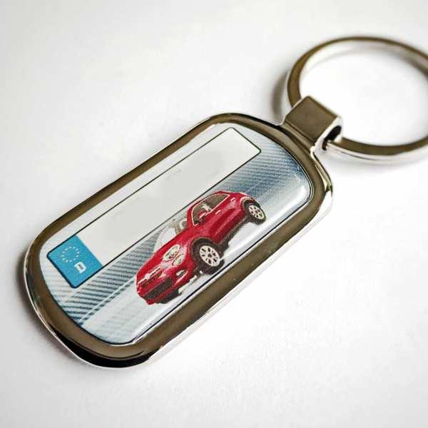 Roter Fiat 500x mit Kennzeichen Schlüsselanhänger Fotodruck & Gravur