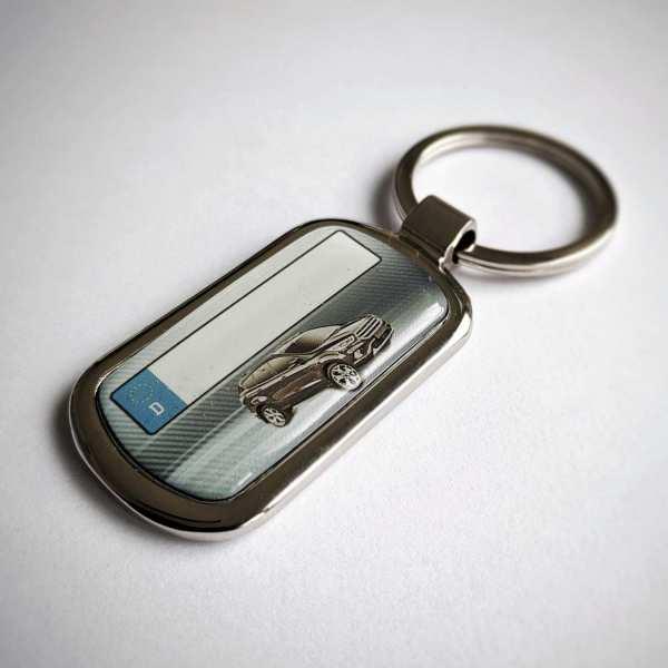 Ford Kuga ab 2019 mit Kennzeichen Schlüsselanhänger personalisiert Fotodruck mit Gravur auf der Rückseite