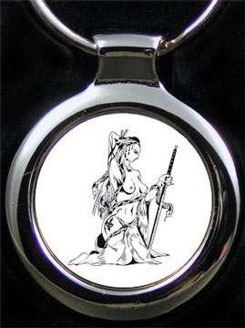 Amazone mit Schwert Schlüsselanhänger inkl. Text
